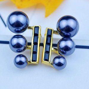 Henri Bendel Zircon Butterfly Blue Pearl Earring
